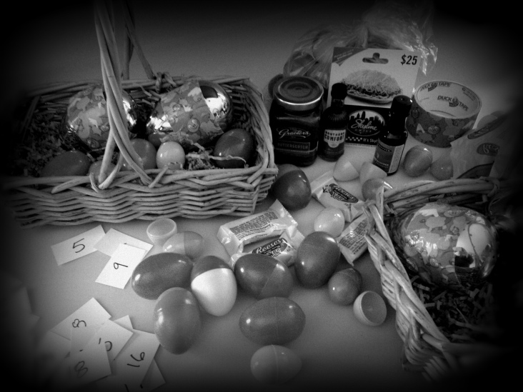 Prepping Life is NOT Fair eggs ... some encase double prizes, some a single prize or a chance for a larger prize, others are empty.